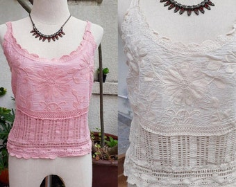 Spaghetti Crochet Lace top/Boho Crochet Top/Bohemian Lace blouse/Beach lace top/Embroidered Blouse/2 colors Off white, Gray, Baby Ping