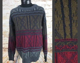 Mens vintage pullover sweater - Concept Clothing Company Sweater - Large Men's Sweater - acrylic sweater - Cosby Sweater - Hipster sweater