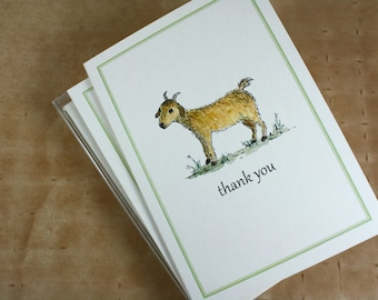 Year of the Goat 2015, Baby Goat, Chinese New Year, Thank You Notecards, Set of 8
