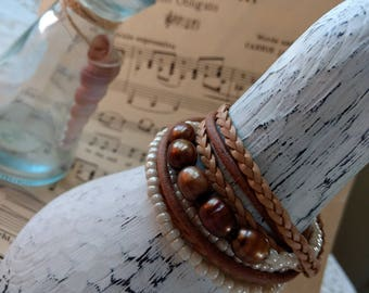 Boho Leather and Pearl Wrap Bracelet, Multi Strands of Leather and beads in shades of Natural  browns, pearls and lovely seed beads