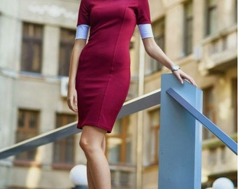 Office dress Autumn dress Burgundy dress Peter Pan collar Short-sleeve dress Contrast dress