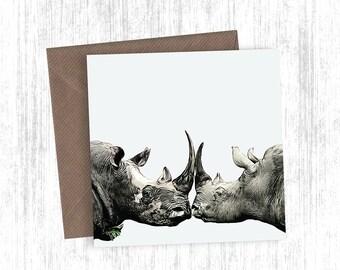 Rhino Artwork Card Set of 1, 3, 5, 10 or 20 - Holiday Cards - Christmas Cards - Orange - Greetings Cards - Rhino - Version 2