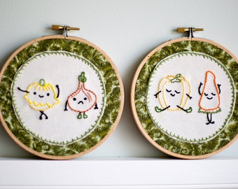 Vegetable Pairs Embroidery Hoop Art 5 inch x 2