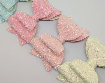 "Pastel Glitter Hair Bow-Alligator Clip-Baby Headband-Photo Prop-Chunky Glitter-Toddler Hair  Accessories-3.5"" hair bow"