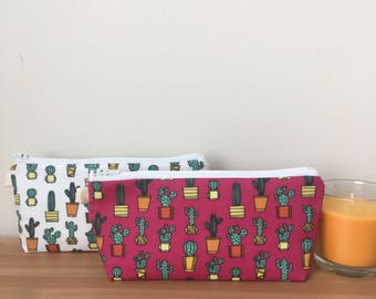 Pink or White Cactus Zipper Pouch, Cactus Pencil Pouch, Succulent Pencil Case, Small Cosmetic Bag
