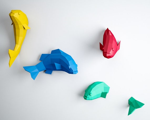 papercraft 3d fish origami paper craft paper sculpture 3d puzzle diy kit home decor papercraft pdf animal template low poly pepakura from inartcraft on