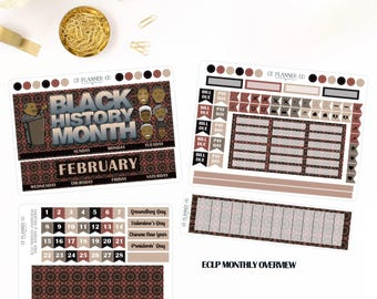 Black History Month February 2018 Monthly Overview Planner Stickers for use in the Erin Condren LifePlanner, MLK, Obama, Tubman, Mandela
