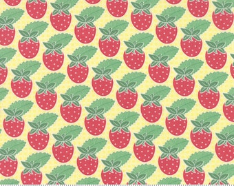Strawberry Fabric - Yellow - Moda Bumble Berries - Strawberry Fabric By The 1/2 Yard