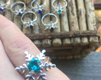 Frozen Snowflake Ring made with a 6 mm genuine Swarovski Crystal