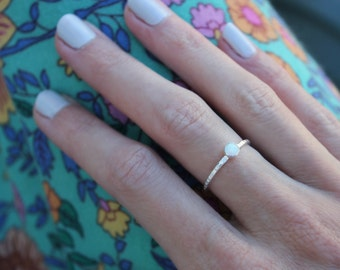 Opal ring, Sterling silver ring, stacking rings, midi ring, silver ring, opal band ring - for her, opal jewelry, October birthstone