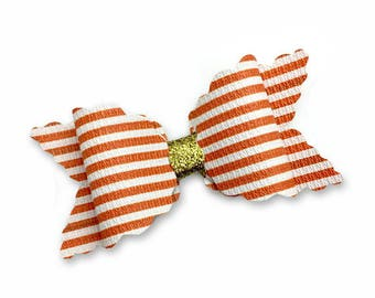 Peach and White Striped Handmade Leather Bow, Faux Leather  Bow, Baby Hair Bow, Headband Bow.