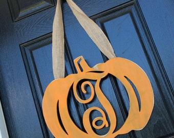 Fall Door Decor, Wooden Pumpkin Door Hanger, Fall Door Monogram, Halloween, Thanksgiving wreath