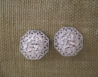 Costume Silver Clip-on Earrings Hexagon Shaped