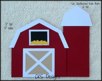 Die Cut Farm BARN & SILO Premade Paper Piecing Embellishment for Card Making Scrapbook or Paper Crafts
