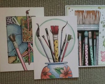 Original Ink and color pencil drawing on cards of paint brushes.