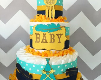 Tribal Diaper Cake in Teal, Navy and Mustard Yellow, Tribal Baby Shower Centerpiece, Boho Baby Shower Decorations