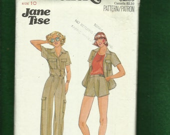 1970's Butterick 5991 Jane Tise Designer Safari Chic Shirt Pants & Shorts Size 10