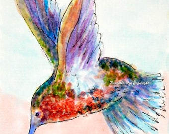 """ACEO Limited Edition """"Hummingbird"""" by Napolske Artist Free Shipping"""