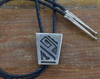 Vintage Sterling Silver Overlay Bolo Tie