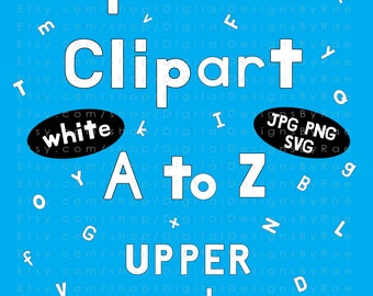 White Alphabet Clipart set A-Z upper & lowercase