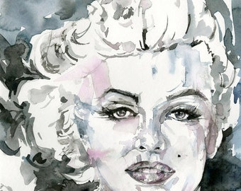 "Marylin Goddess Watercolor Painting - Canvas Art Print - from Original watercolor painting ""Goddess No. 4"" by Kathy Morton Stanion  EBSQ"