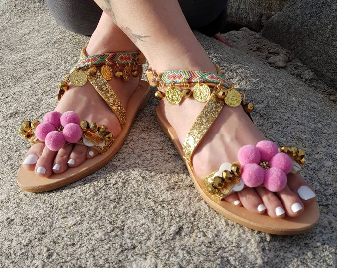 DHL FREE Greek sandals,pompom sandals,ethnic,gladiator sandals/strappy,boho sandals,women sandals leather shoes,pink,luxury sandals/Handmade