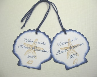 10 Wedding Tags for Favors - Seashell Starfish Seashore Welcome Tags - Tropical Wedding - Destination Wedding - Beach Wedding - Navy Blue