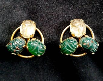 Egyptian revival scarab earrings, Vintage, 12K gold filled and stone, Curtis Creations, screw post