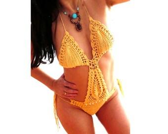 Yellow crochet monokini bikini- hot swimsuit-Women sexy bathing suit- lace crochet monokini-Crochet one piece-custom monokini- Bikini gift