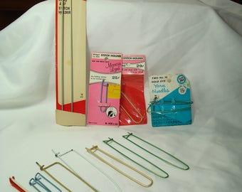 Big Set of Vintage Stitch Holders Cable Stitch Bulky Knit Stitch Holders and Golden Eye Yarn Needles.