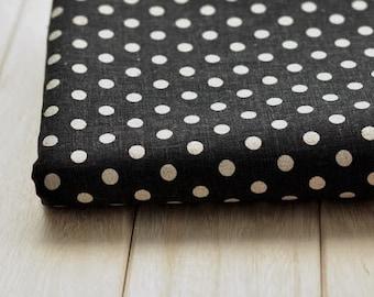 3267 - Japanese Polka Dots on Black Cotton Linen Blend Fabric - 57 Inch (Width) x 1/2 Yard (Length)