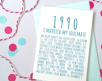 1990 Facts Anniversary or Birthday Card – Personalised Anniversary Card - Birthday Card for Son - Birthday Card for Daughter