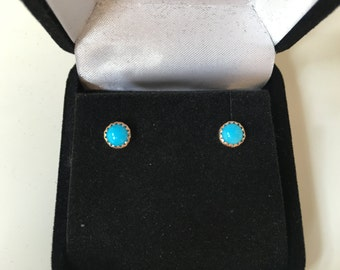 14K SOLID Gold Turquoise Earrings - 5mm Round Sleeping Beauty Turquoise Hand Set in 14K Solid Gold