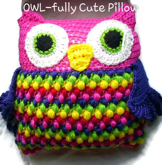 OWLfully cute pillow crochet pattern - How to Crochet Summer Pillow Patterns