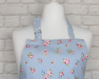 Blue Rose Bud Chintz Adult Apron,Adjustable Apron, Kitchen, Cooking, Home, Apron, Country, Fabric,