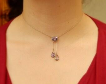 edwardian amethyst necklace in 800 silver - edwardian jewelry