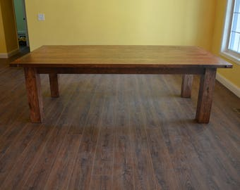 Reclaimed Wood Oak Dining Table with 6 inch Square Legs, Custom, Breadboard Ends