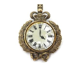 Clock Brooch - Costume Jewelry Faux Mother of Pearl Crown Laurel Leaves