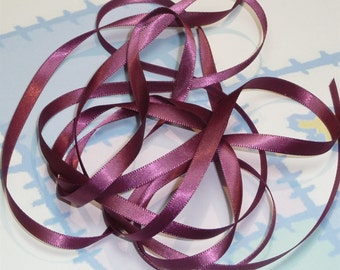 ROSE WINE DouBLe FaCeD SaTiN RiBBoN, Polyester 1/4 inch wide, 5 Yards