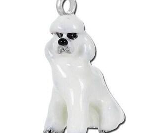 Dog Charm, Poodle Enamel Dog Charm, Dog, Poodle Dog Pendant, Dog Jewelry, Poodle Charm, 2018 Year of the Dog, USA Seller, 20mm
