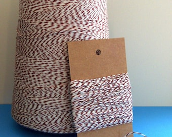 Chocolate Brown and White Bakers Twine . 10 yards