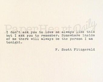 F Scott Fitzgerald - Typed Quote - Typewriter Quote - Cardstock - Wedding Quote