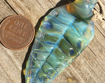 Sea Green Leaf Pendant | handmade glass borosilicate | fall autumn necklace