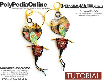 Macrame Jewelry, DIY Macrame, Macrame Pattern, Macrame Tutorial, Macrame Earring, Earring Pattern, DIY Beads, Polymer Clay, Earring Tutorial