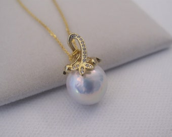 12-13mm Natural White Edison Baroque Pearl w/Cubic Zirconia in 925 Sterling Gold OR Silver Chain, Natural Genuine Pearl Bridal Necklace