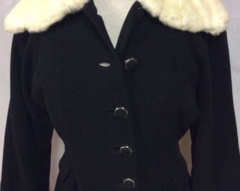 1950's fur-collared, wool, fully lined coat- the perfect winter coat