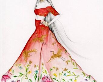Fashion Wall Art Gift for Her Art Giclee Print Original Artwork Original Dress Fashion Illustration Pretty Art Print Gift for Her Fine Art
