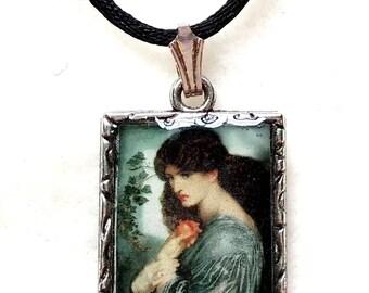 Pre-Raphaelite Lady with Pomegranate Pendant