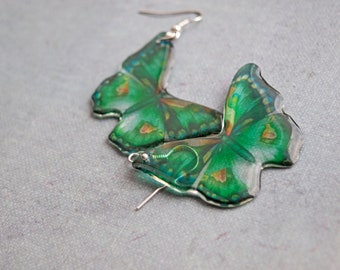Butterfly Earrings Green Butterfly Earrings Green Transparent Butterflies earrings Earrings from resin light earrings Resin jewelry