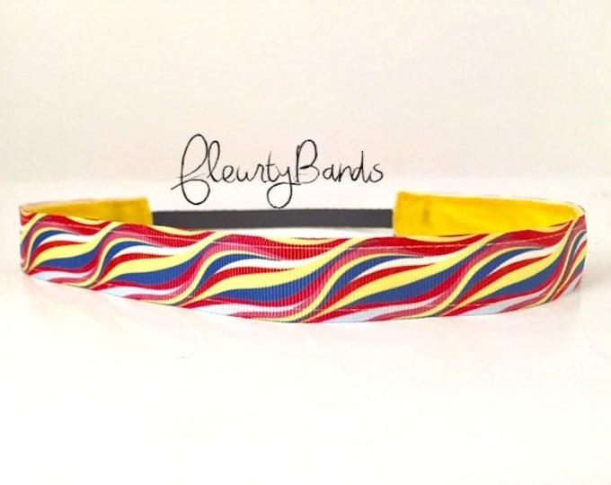 Nonslip Headband  Red/Blue/Yellow Waves